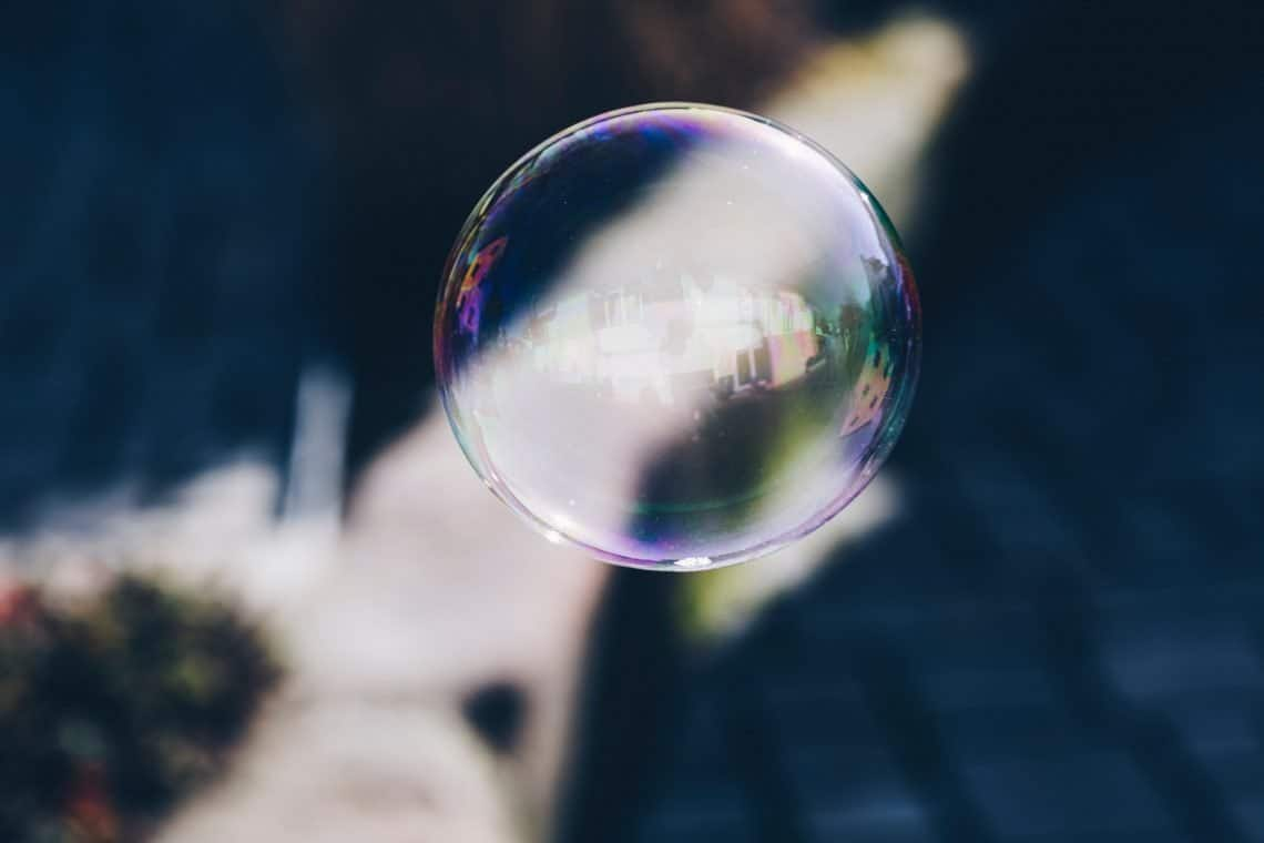 Bubble in front of a dog's face.