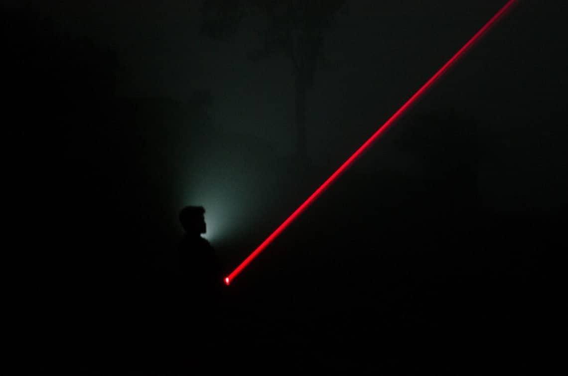 Laser pointer in the dark.