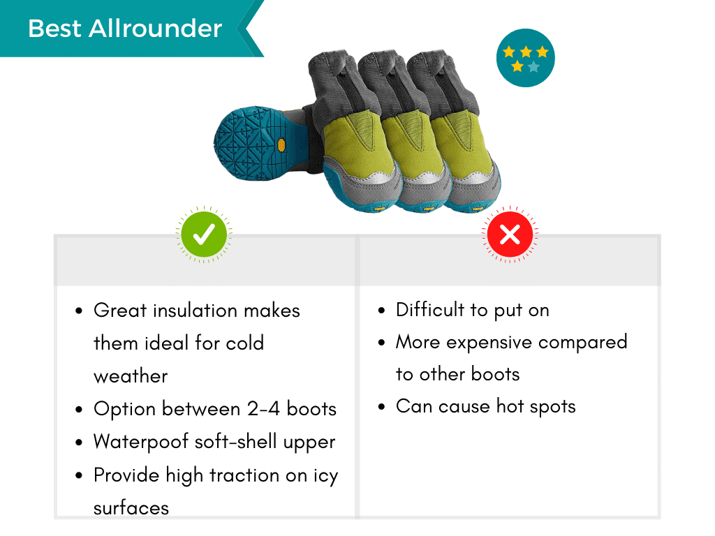 Infographic displaying pros and cons of the best all-rounder waterproof boots for dogs.